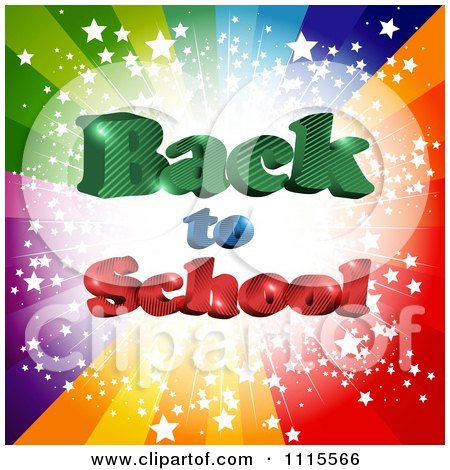 Clipart Colorful Star Burst With 3d Back To School Text - Royalty Free Vector Illustration by MilsiArt