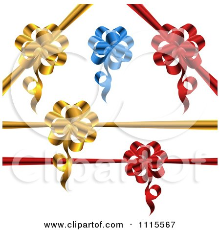 Clipart 3d Gold Blue And Red Gift Ribbons And Bows - Royalty Free Vector Illustration by MilsiArt