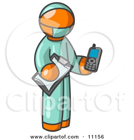 Orange Surgeon Man Holding a Clipboard and Cellular Telephone Posters, Art Prints