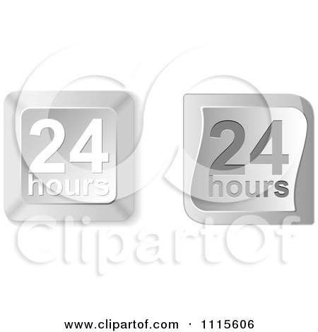 Clipart 3d Silver Twenty Four Hours Buttons - Royalty Free Vector Illustration by Andrei Marincas