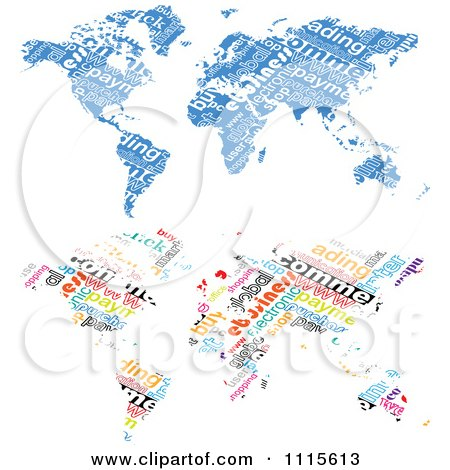 Clipart Blue And Colorful E Commerce World Maps - Royalty Free Vector Illustration by Andrei Marincas