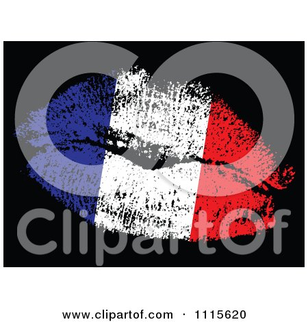 Clipart French Flag Kiss - Royalty Free Vector Illustration by Andrei Marincas