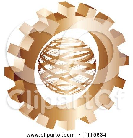 Clipart 3d Bronze Gear Wheel Around A Globe - Royalty Free Vector Illustration by Andrei Marincas