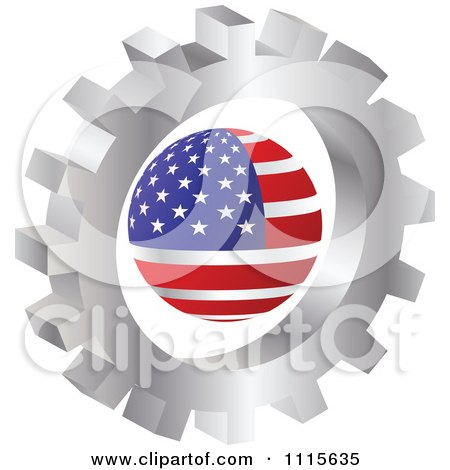 Clipart 3d Silver Gear Wheel Around An American Globe - Royalty Free Vector Illustration by Andrei Marincas