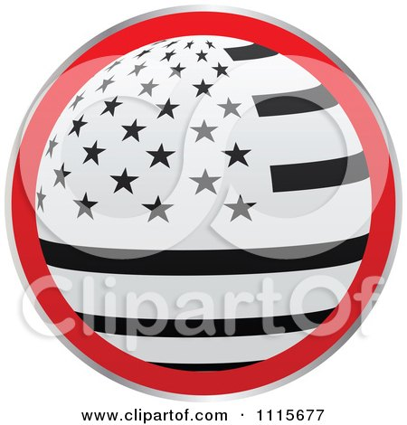 Clipart Black Red And White Round American Flag Icon - Royalty Free Vector Illustration by Andrei Marincas