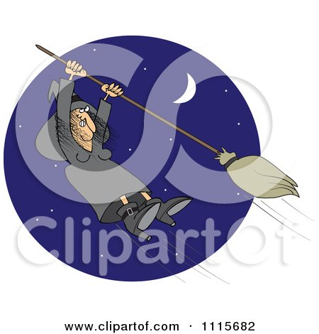 Clipart Halloween Witch Hanging Onto A Flying Broom In A Blue Night Sky - Royalty Free Vector Illustration by djart