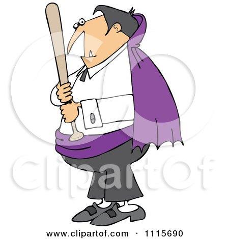 Clipart Vampire Holding A Baseball Bat - Royalty Free Vector Illustration by djart