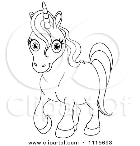 Clipart Outlined Cute Unicorn Royalty Free Vector