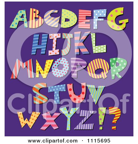Clipart Colorful Patterned Capital Letters On Purple - Royalty Free Vector Illustration by yayayoyo