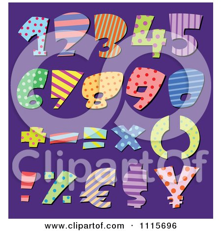 Clipart Colorful Patterned Numbers And Math Symbols On Purple - Royalty Free Vector Illustration by yayayoyo