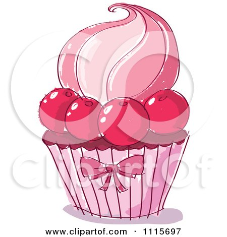Pink Doodled Cupcake With Cherries Posters, Art Prints