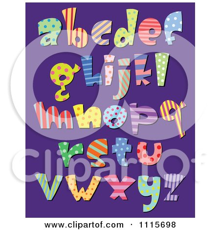 Clipart Colorful Patterned Lowercase Letters On Purple - Royalty Free Vector Illustration by yayayoyo