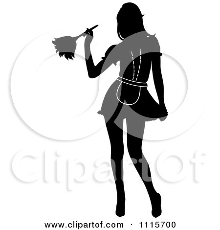 Clipart Sexy Silhouetted Dusting French Maid Wearing Garters - Royalty Free Vector Illustration by Pams Clipart