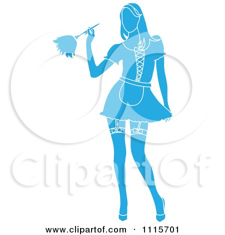 Clipart Sexy Blue Silhouetted Dusting French Maid Wearing Garters With A White Outline - Royalty Free Vector Illustration by Pams Clipart
