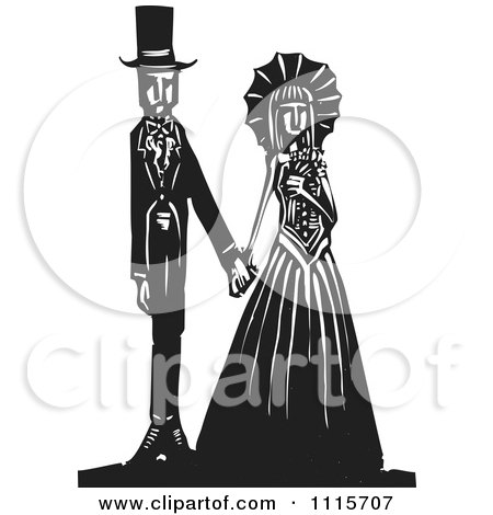 Clipart Gothic Wedding Couple Holding Hands Black And White Woodcut 1 - Royalty Free Vector Illustration by xunantunich