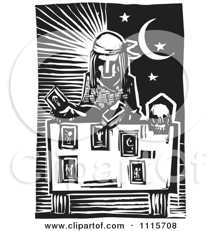 Clipart Tarot Card Reader And Sun And Moon Black And White Woodcut - Royalty Free Vector Illustration by xunantunich
