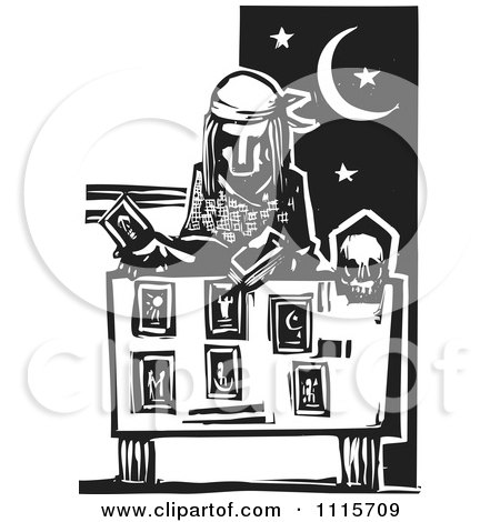 Clipart Tarot Card Reader Black And White Woodcut - Royalty Free Vector Illustration by xunantunich