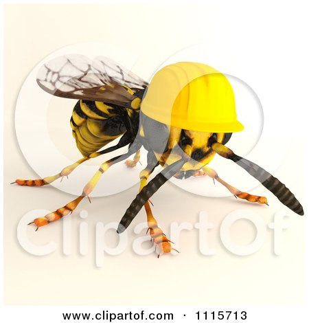 Clipart 3d Worker Wasp Bee Wearing A Hard Hat - Royalty Free CGI Illustration by Leo Blanchette