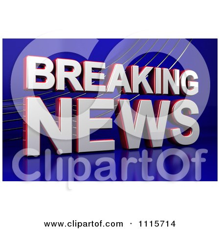 Clipart 3d Breaking News Television Text On Blue - Royalty Free CGI Illustration by stockillustrations