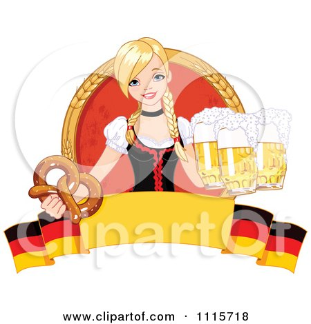 Clipart Blond Bar Maiden With Beer And A Soft Pretzel Over A German Banner - Royalty Free Vector Illustration by Pushkin
