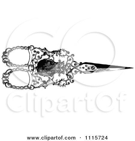 Clipart Retro Vintage Black And White Ornate Scissors 4 - Royalty Free Vector Illustration by Prawny Vintage