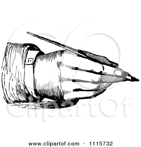 Clipart Retro Vintage Black And White Hand Writing With A Fountain Pen 3 - Royalty Free Vector Illustration by Prawny Vintage