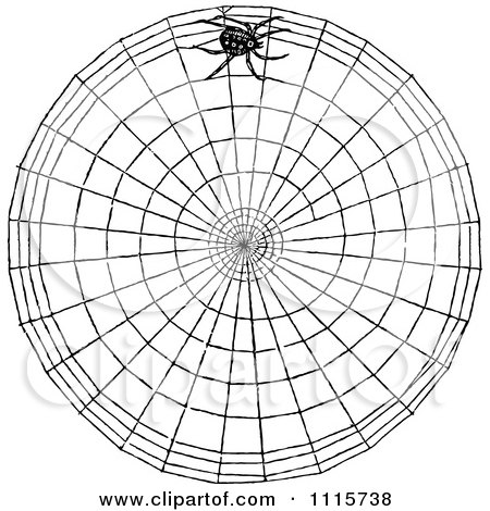 Clipart Retro Vintage Black And White Spider Making A Web - Royalty Free Vector Illustration by Prawny Vintage