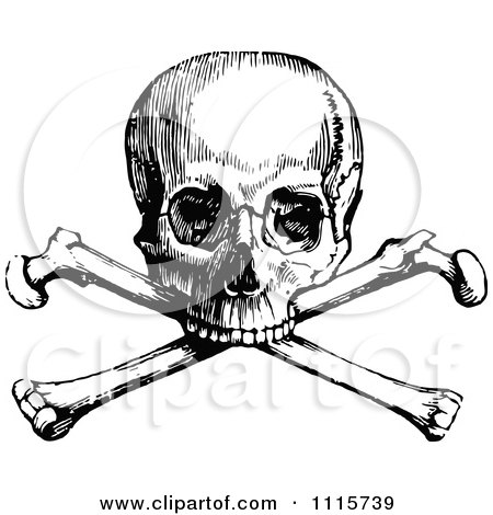 Retro Vintage Black And White Skull And Crossbones 1 Posters, Art Prints