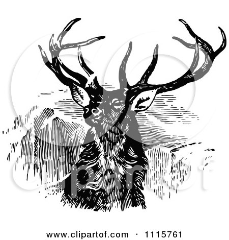 Clipart Retro Vintage Black And White Stag Buck Deer With Antlers 2 - Royalty Free Vector Illustration by Prawny Vintage