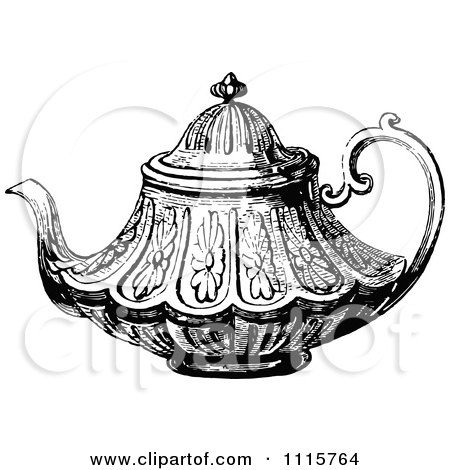 Clipart Vintage Black And White Ornate Tea Pot 2 Royalty