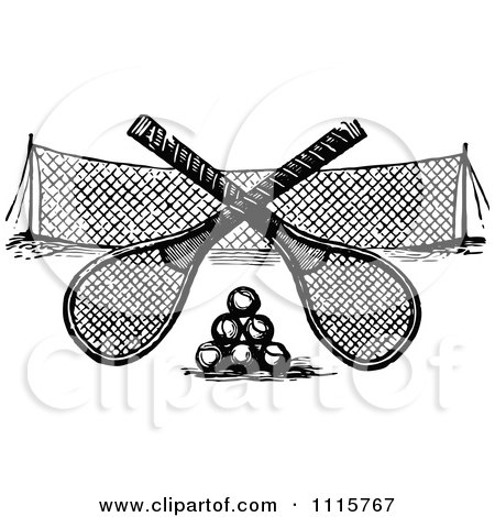 Clipart Retro Vintage Black And White Crossed Tennis Rackets Over Balls And A Net - Royalty Free Vector Illustration by Prawny Vintage