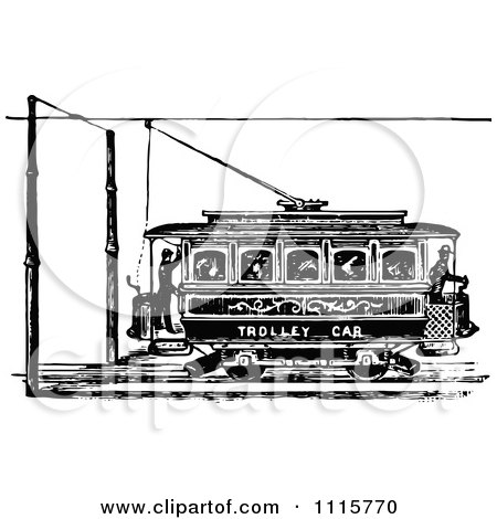 Clipart Retro Vintage Black And White Trolley Car - Royalty Free Vector Illustration by Prawny Vintage