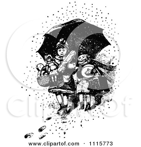 Clipart Retro Vintage Black And White Boy And Girl With Toys Under An Umbrella In The Snow - Royalty Free Vector Illustration by Prawny Vintage