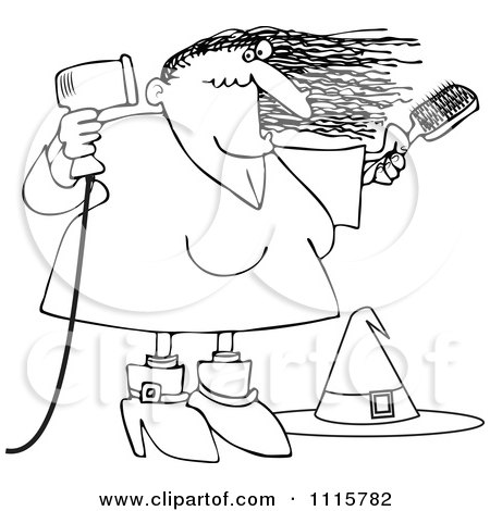 Clipart Outlined Halloween Witch Blow Drying Her Hair - Royalty Free Vector Illustration by djart
