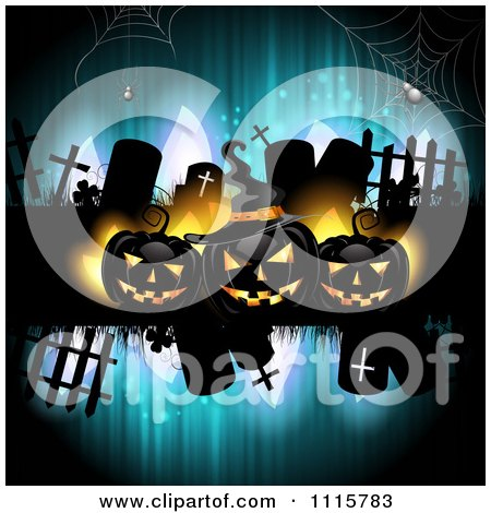 Clipart Blue Halloween Background With Tombstones And Black Jackolanterns 2 - Royalty Free Vector Illustration by merlinul