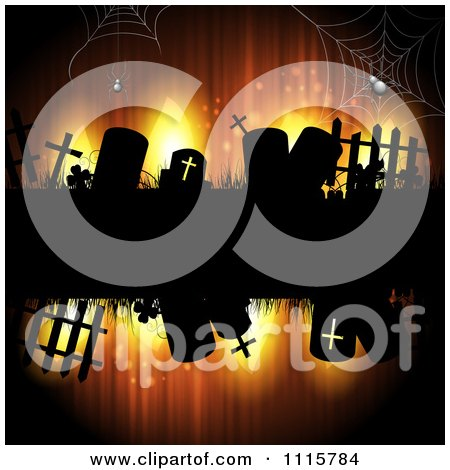 Clipart Grungy Orange Halloween Background With Spiders And Gravestones - Royalty Free Vector Illustration by merlinul