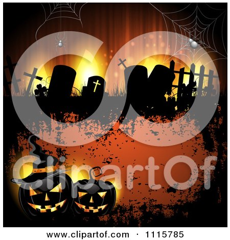 Clipart Orange Halloween Background With Tombstones And Black Jackolanterns - Royalty Free Vector Illustration by merlinul