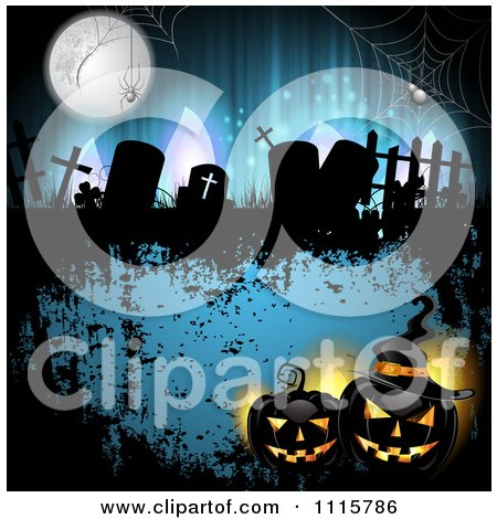 Clipart Blue Halloween Background With Tombstones And Black Jackolanterns 1 - Royalty Free Vector Illustration by merlinul