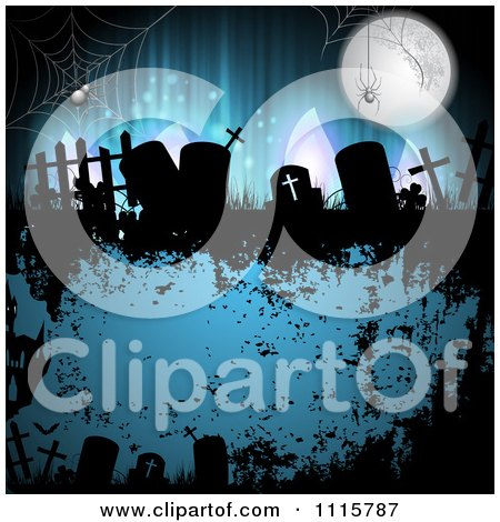 Clipart Grungy Blue Halloween Background With Spiders Over Gravestones - Royalty Free Vector Illustration by merlinul