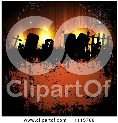 Clipart Grungy Orange Halloween Background With Spiders Over Gravestones - Royalty Free Vector Illustration by merlinul
