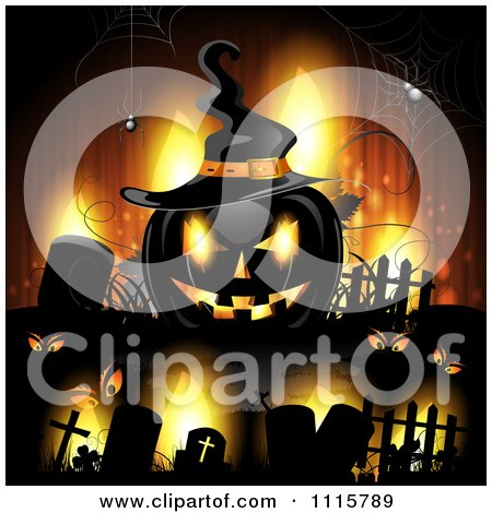 Clipart Orange Halloween Background With Tombstones And A Black Jackolantern 2 - Royalty Free Vector Illustration by merlinul