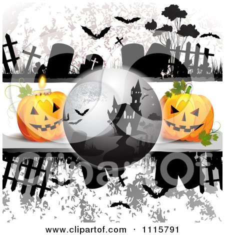 Clipart Haunted House On A Grungy Cemetery Halloween Background With Jackolanterns - Royalty Free Vector Illustration by merlinul