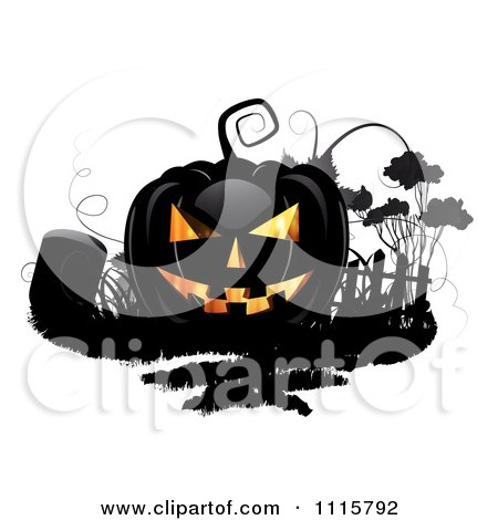 Black Halloween Jackolantern And A Tombstone Posters, Art Prints