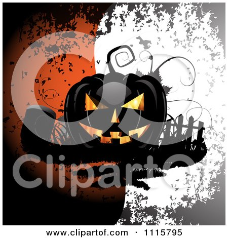 Clipart Black Halloween Jackolantern With A Grave Over Grungy Orange And White - Royalty Free Vector Illustration by merlinul