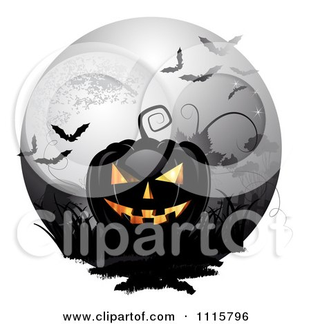 Clipart Black Halloween Jackolantern Against A Full Moon With Bats - Royalty Free Vector Illustration by merlinul