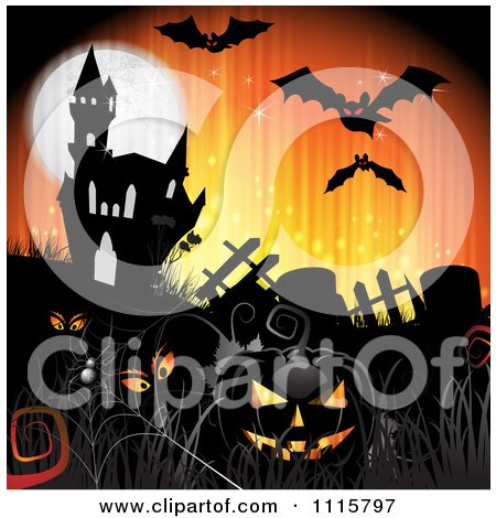 Clipart Orange Halloween Background With A Haunted House Graves And A Black Jackolantern 3 - Royalty Free Vector Illustration by merlinul