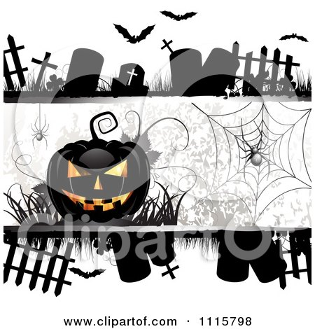 Clipart Halloween Background With Tombstones Spider And A Black Jackolantern - Royalty Free Vector Illustration by merlinul