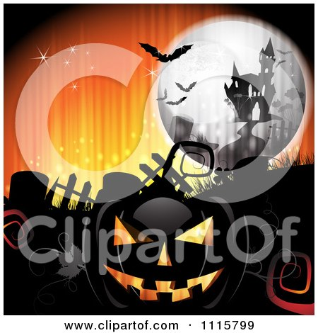 Clipart Orange Halloween Background With A Haunted House Graves And A Black Jackolantern 2 - Royalty Free Vector Illustration by merlinul