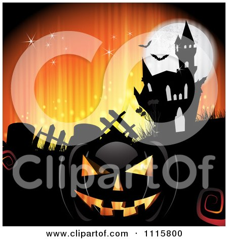 Clipart Orange Halloween Background With A Haunted House Graves And A Black Jackolantern 1 - Royalty Free Vector Illustration by merlinul