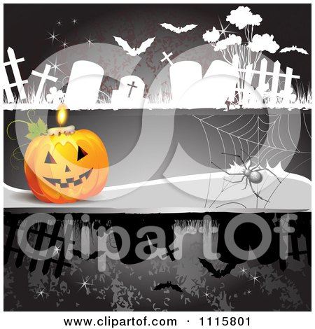 Clipart Dark Halloween Background With A Jackolantern Spider And Tombstones - Royalty Free Vector Illustration by merlinul